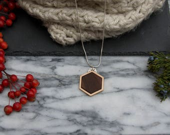 Walnut and Bronze Hexagon Necklace