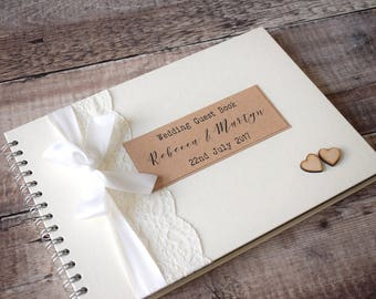 Large A4 Personalised Wedding Guest Book with Lace and Wooden Hearts, Vintage Scrapbook