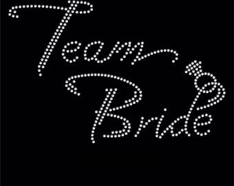Lot of 4 Team Bride Rhinestone iron on transfer