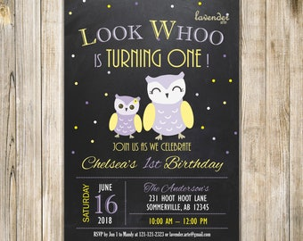 CHALKBOARD OWL FIRST Birthday Invitation, Owl Birthday Invite, Yellow Purple Lavender, Owl Party, 1st Birthday, Look Who's Turning One