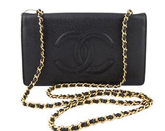 Vintage Chanel Black Caviar Leather Wallet