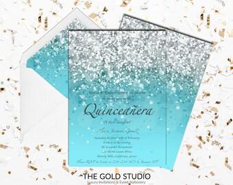 blue quinceaera invitation turquoise glitter mis quince anos light blue quince invitation 15th birthday - Quinceanera Invites