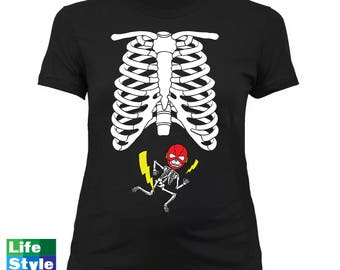 Halloween Maternity Skeleton (the Flash) Justice League Skeleton Baby SuperHero Pregnancy Maternity Costume Tee Best Halloween Gift CT-1321