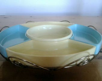 Hazel Atlas Lazy Susan  With Wire Turntable And Colored Glass Inserts