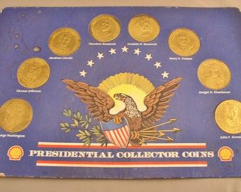 "Shell Oil Presidential Coin Series Set on Display Card 8 Coins - Brass 1"" Dia Each - Vintage Tokens"