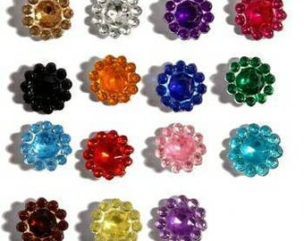 100pcs 1.1cm 15colors Hotfix Bling Acrylic Pointback Rhinestone Buttons Artificial Plastic Decorative Crystal Strass Beads