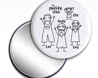 Pocket mirror gift black and white - family - customizable 58 mm