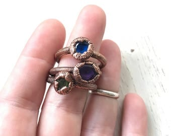 Three Graces- Copper Stacking Rings  Spinel, Amethyst, and Hydroglossular Garnet Size 7