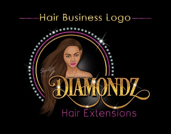 Personalized Female Portrait Logo, Custom Hair Business Logo, People Logo, Hair Extensions Logo, Hair Logo, Female Portrait Logo, Bling Logo