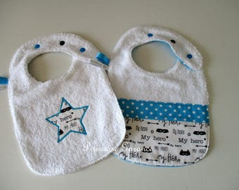 Set of 2 bibs lined with Terry cloth and cotton My Little Hero - custom