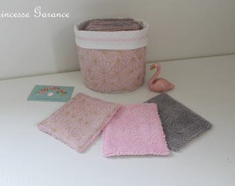 12 wipes washable, cotton matching origami pink and gold, sponge, purse, in STOCK