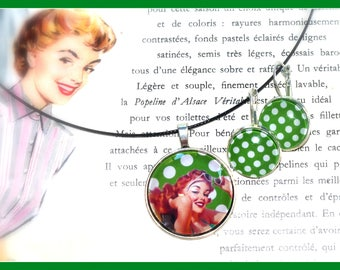 Set necklace earrings pin-up and polka dots