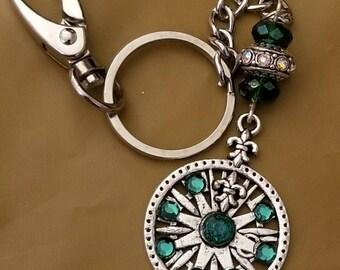 Fleur des lis keychain, womens accessories, purse clips, rhinestone keychain