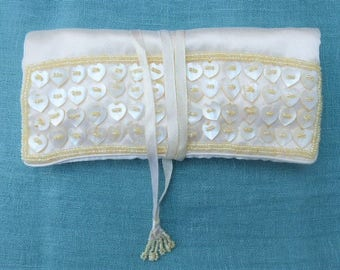 Vintage 1990s - Cream Satin Flat Jewellerey Roll, Embroidered with Seed Beads and Mother-of-Pearl Buttons - for Travelling
