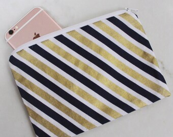 Navy Blue & Gold Stripped Zippered Small Zippered Pouch