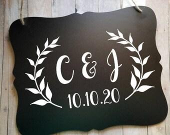 Vine Initial Chalkboard Wedding Sign - Wedding Sign - Flower Girl Sign - Ring Bearer Sign - Wedding Accessory Sign