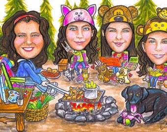 Christmas cards, retirement gift, retirement women, retirement men, camping caricature, family portrait, family caricature, cartoons