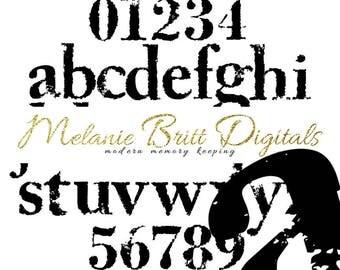 STAMPED digital alphabet, black stamp letters, stamp numbers, black stamped alphabet, lowercase alphabet, printable pdf, INSTANT DOWNLOAD