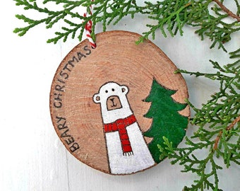Polar Bear Christmas, Polar Bear Ornament, Rustic Christmas, Polar Bear Decoration, Rustic Ornaments, Christmas Stockings, Stocking Fillers