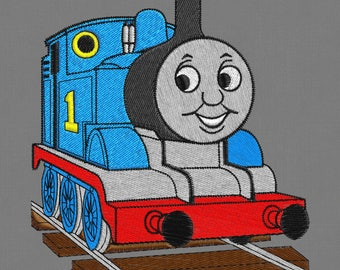"""Embroidery design 2 hoops Thomas The Train 4x4"""" 5x7"""" pes hus jef vp3"""