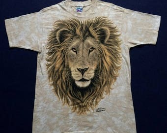 ON SALE 26% Vintage Lion Roar 90s Rare T shirt