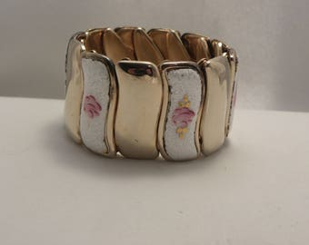 Vintage Guilloche Enamel Flower Wide Expansion Bracelet