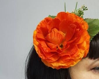 Orange Rose Hair Flower