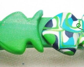 Green fish and turquoise7cm polymer clay Barrette