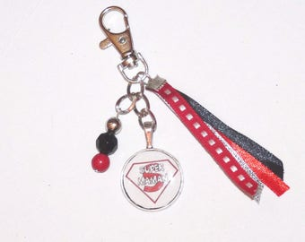 Jewelry bag/key SUPER MOM tones red and black