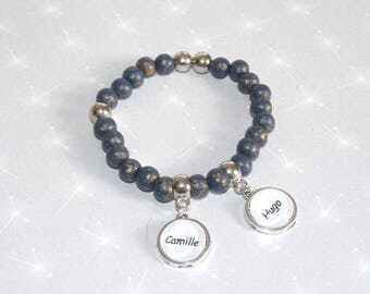 Bracelet personalized names in blue/bronze and silver beads