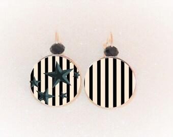 Earrings sleepers silver cabochon black beige Stars Stripes