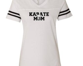 Karate Mom D55 LAT - Women's Football V-Neck Fine Jersey Tee - 3537