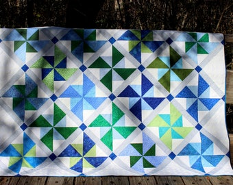 "Delightful Blue, Green and White Pinwheel Quilt, Homemade Patchwork Bed Quilt, Decorative Throw Quilt, Generous Lap Quilt, 60"" x 80"""