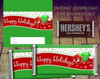 Christmas Candy Bar Wrapper, Christmas Printable, Christmas Candy, Christmas Teacher Gift, Christmas Chocolate, Christmas Favor