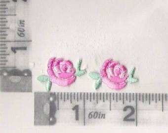 Pair of small pink rose iron on patches
