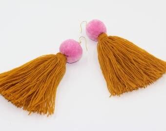 Pom Pom earrings, Pom earrings, tassel earrings, earrings with Pom poms, boho tassel earrings, long tassel earrings, boho earrings set