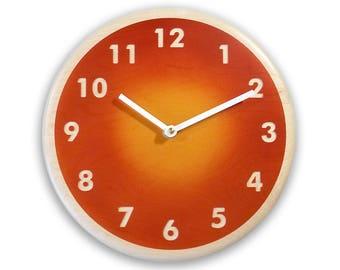 Wood wall clock. Modern wall clock. Orange wall clock. 10 inch wall clock.  Deep burnt orange light gold airbrushed colors. CL4017