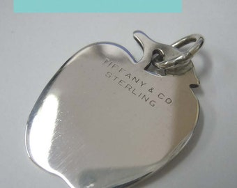 Sterling Silver Tiffany Big Apple Bracelet Necklace Charm Pendant