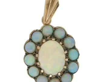 9k Gold Vintage Opal Cluster Pendant