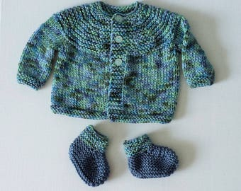 Baby's Hand Knitted Varigated Blue Sweater and Booties Set - 3 to 6 Months Size