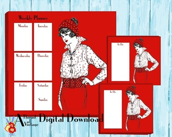 All red polka dot vintage lady weekly planner instant download, printable