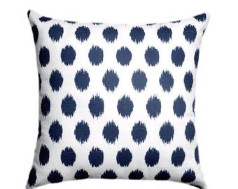 SALE Navy Pillow Cover - Jojo Navy and White Throw Pillow Cover - Navy Decorative Pillow - Navy Blue Pillow - 20 x 20 Navy Blue Cushion Cove