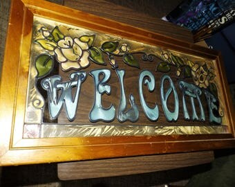 Vintage, Stained Glass, Welcome Sign, French Cottage, Farmhouse, Gift For Her, Home Decor, Hand Painted, Cottage Chic, Mid Century Decor