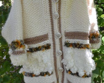 KNITTED coat LISA ecru and taupe for girl 3 years