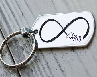 Infinity with Name Personalized Key Chain - Engraved