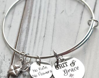 Grit and Grace Personalized Adjustable Wire Bangle Bracelet