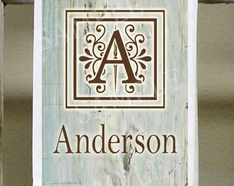 Personalized Initial with name, Teal Faux wood background, brown lettering, matching cutting board available, Design heat set into fibers