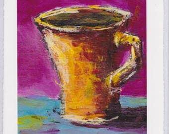 Yellow Cup : 5x7 Greeting Card