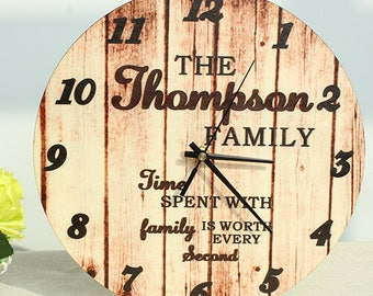 Personalized Rustic Clock 12 Inch Diameter,Custom Family Retro Wooden Wedding Clock,Housewarming Gift For Friend,clocks faces For wall decal