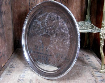 Round Silver Tray, Silver Plated Tray, Tea Tray, Afternoon Tea, Serving Tray, Downton Abbey, Breakfast Tray, Small Tray, Silver Platter